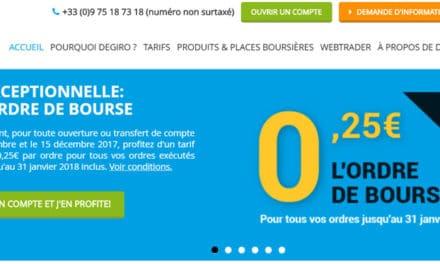 DEGIRO offre exceptionnelle : 0,25€ par ordre jusqu'au 31 janvier 2018