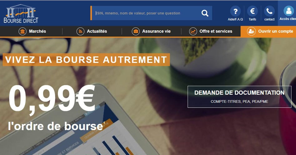 printscreen du site de bourse direct