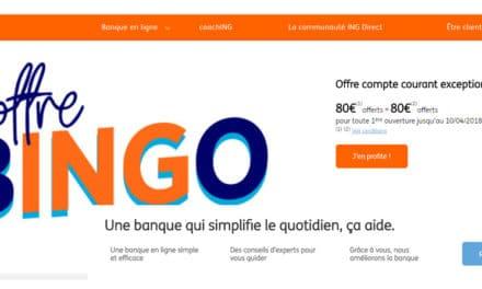 ING offre exceptionnelle : 160€ offerts du 3 au 9 octobre 2018 !