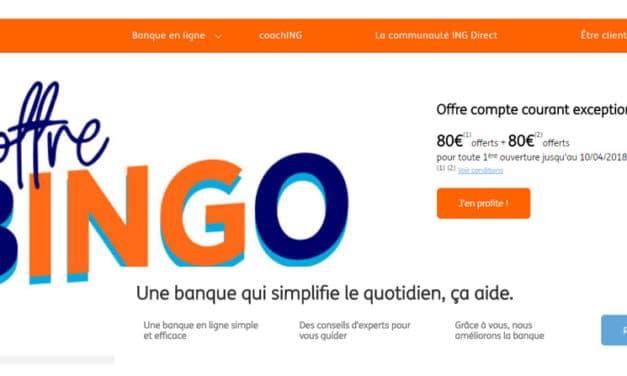 ING offre exceptionnelle : 160€ offerts du 14 au 20 novembre 2018 !