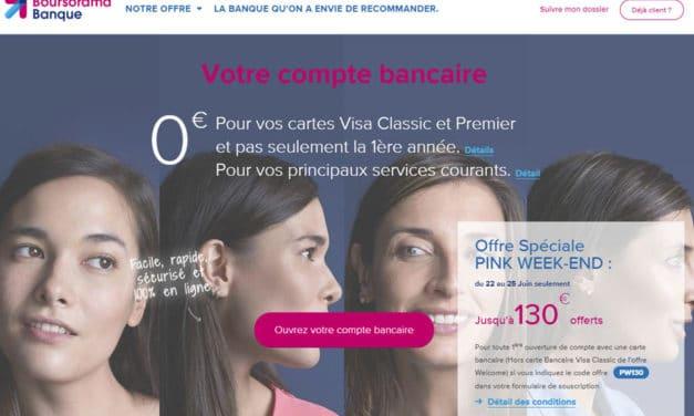 Boursorama offre exceptionnelle : 130€ offerts du 22 au 25 juin !