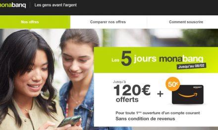 Monabanq offre exceptionnelle : 170€ du 4 au 8 février