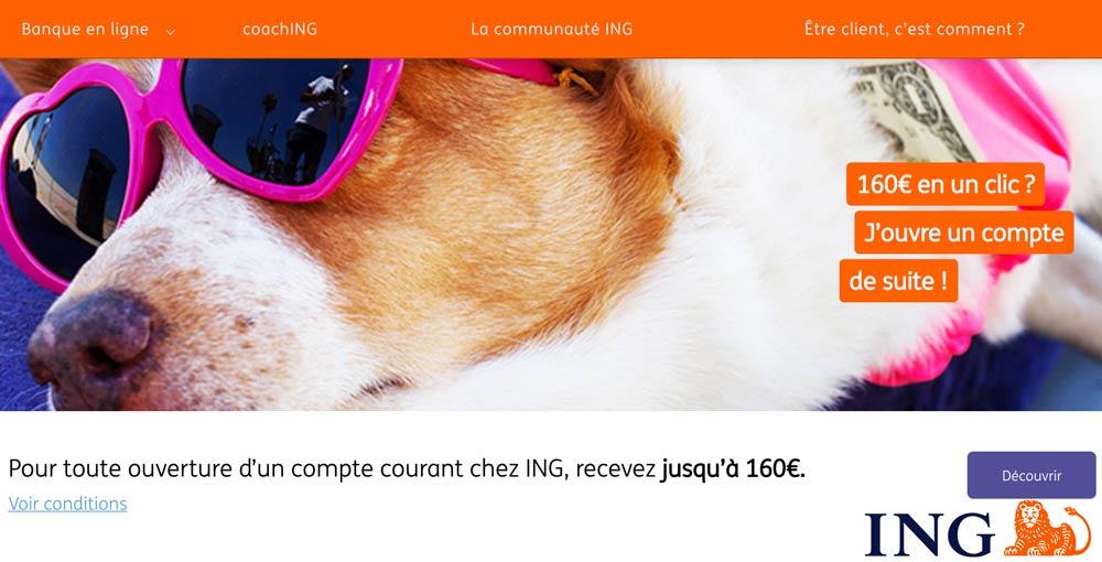 ING offre exceptionnelle : 160€ offerts du 20 au 26 janvier